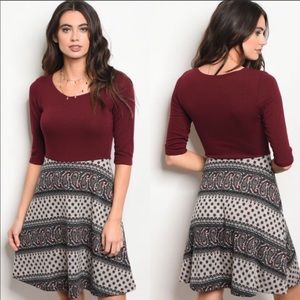 Burgundy and Taupe Paisley Print Dress